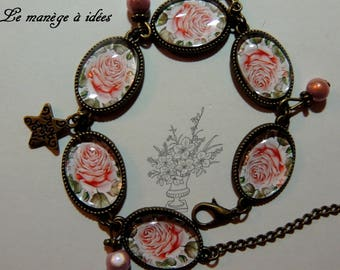"Bronze Metal adjustable bracelet ""Rose in pink""."