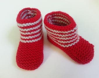 Little ones toes boots red & gray 0-3 months (baby shoes, socks)