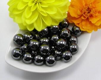 General Hematite round 10 mm set of 20 beads