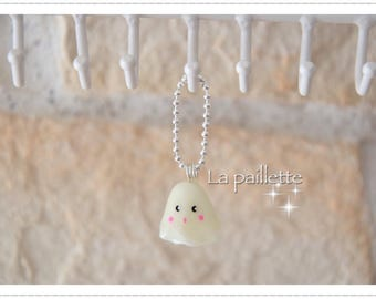 Phosphorescent polymer clay ghost bag charm