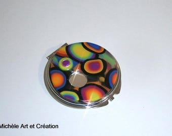 Pocket mirror or bag multicolor Fimo