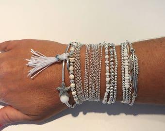 Silver and white woman Doriane bracelets