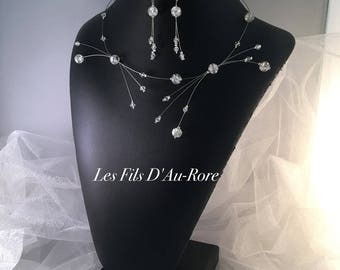 Wedding DIANA necklace & earrings set swarovski rhinestone