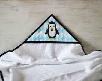Hooded towel pattern Blue Penguin