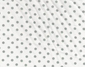 WHITE polka dot gray / cotton printed, cut 25cm