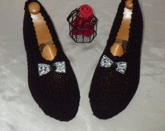 Slippers adult woman 36/38 with a bow and a flower button