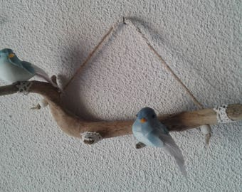 Birds perched on Driftwood