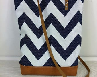 Navy chevron and camel leather bag