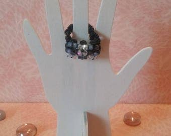 Ring - checkerboard black and white beads