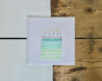 Green Present Watercolour Birthday Card
