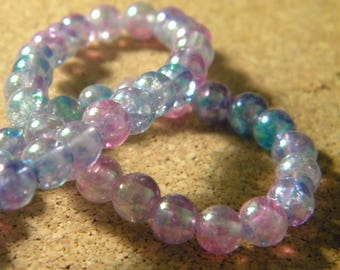 48 beads 6 mm glass plated AB - translucent blue and purple PE203 7
