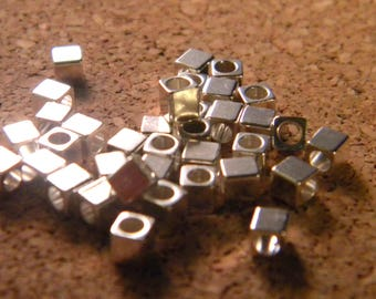 20 bead spacer spacer-square - Silver - 3 mm AB1