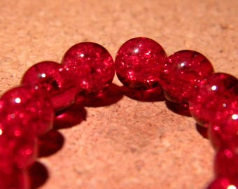 50 8 mm - red - PF65 Crackle glass beads