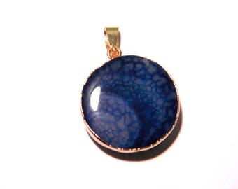 Pendant natural agate - 37 mm - set gold - blue-F118 - semi precious gem stone-