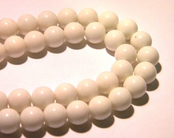 10 glass fired-10 mm - smooth beads and brilliant white light-K57-2