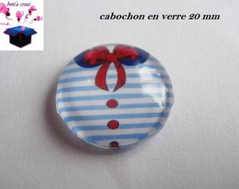 1 cabochon clear 20mm theme Navy t-shirt