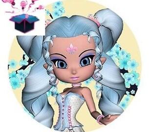 1 cabochon clear 18 mm blue hair girl theme