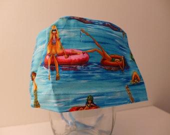 "Block pattern multicolor ""beach"" on the blue Cap"