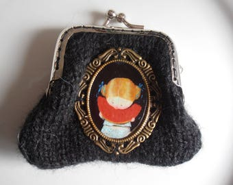Black purse with girl and watermelon Medallion