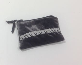 wallet in VELVET and lace