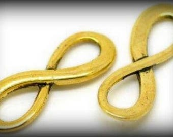 """Connector (spacer) """"Infinity"""" symbol in gold antiqued x 2"""