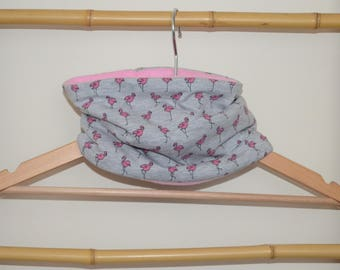 Choker, snood, scarf gray Flamingo kid and baby pink, pink fleece Interior