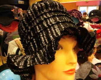 Cape Hat black velvet fabric.