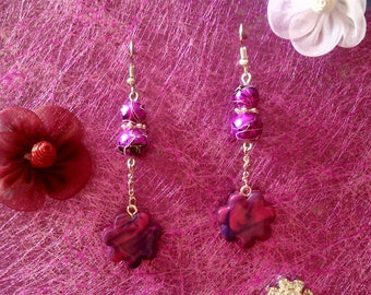 fuchsia purple flower earrings