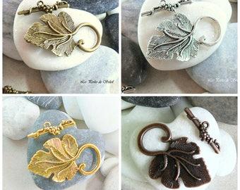color gold, silver, bronze or copper 37x20mm Vine Leaf toggle clasp