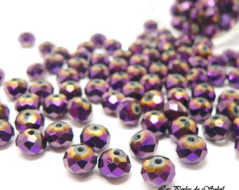 25 beads metallic purple rondelle 4 x 6 and 6 x 8 mm