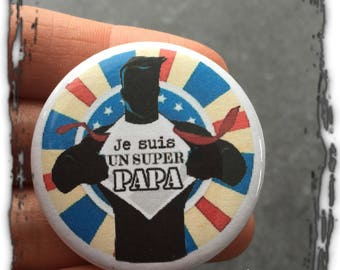 Badge dad, father's day, 4.4 cm gift personalized, badge, Daddy, Dad gift