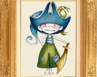 Counted cross stitch chart kids Pirate and sword