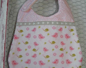 Bavoir en coton  avec des oiseaux et cercle rétros, éponge  pour les bébés de la naissance à 12 mois et plus