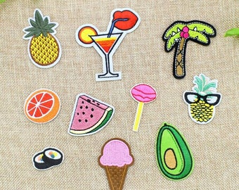 Patches For Jacket,Jeans,Bag,Fruit Iron On Patches ,10pcs/lot ,Iron On Embroidery For Clothing,  Jeans Decoration,Bag,Cap, Shirt,Food Patch