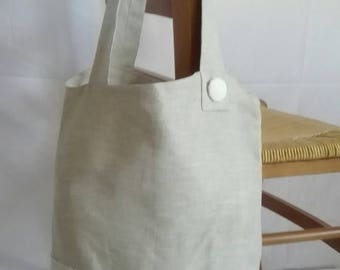 Asymmetrical linen beige and white tote bag