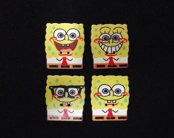 Set of 10 wooden buttons, sponge bob. 28 mm long X 25 mm wide. Scrapbooking, sewing