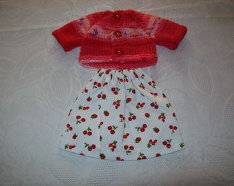 clothes for dolls 32 33 cm, with babies (skirt cotton print: cherry with vest or sweater)