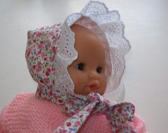 clothing for infants; 30 cm dolls, tidoo calin:bonnet shape linned, style liberty