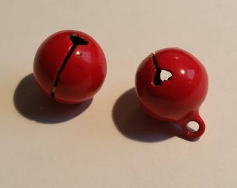 set of two red bells charms
