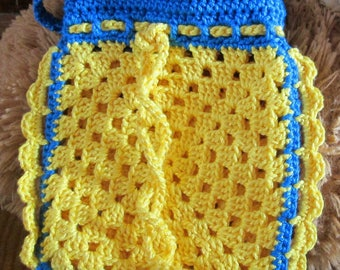 Small child shoulder purse in yellow and blue cotton