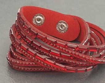 2 Cuff Bracelet turns red Rhinestones, red suede