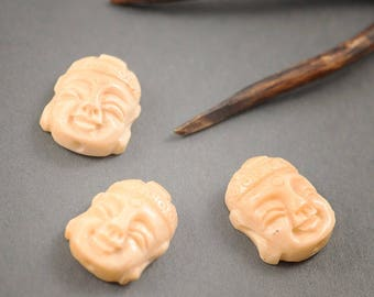 1 pc - bead spacer Buddha head • • • vintage 25mm x 20mm ivory color natural bone