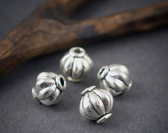 4 pcs - ethnic spacer beads 8mm silver Lantern pumpkin metal