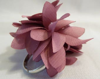 Pink satin fabric flower ring