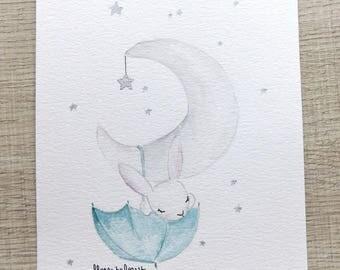 Hanging from the Moon rabbit watercolor original illustration