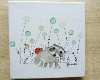 Small canvas the raccoon and Ladybug