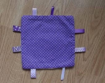 Plush purple and white labels for your baby.