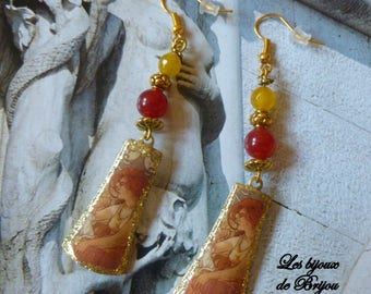 Earrings in yellow and red agate and metal art