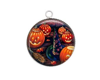 Cabochon resin cameo, 20 or 25 mm, Halloween, pumpkin, pointy Hat