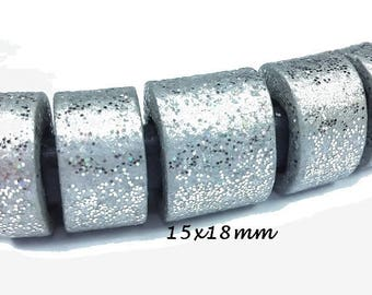 1 silver glitter 15 x 18 m for leather Régaliz (re13) ceramic bead